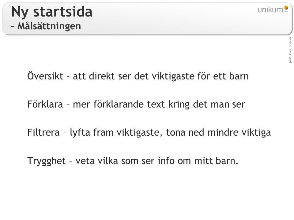 www.unikum.net Ny startsida – Målsättningen Översikt – att direkt ser det viktigaste för ett barn Förklara – mer förklarande text kring det man ser Fi
