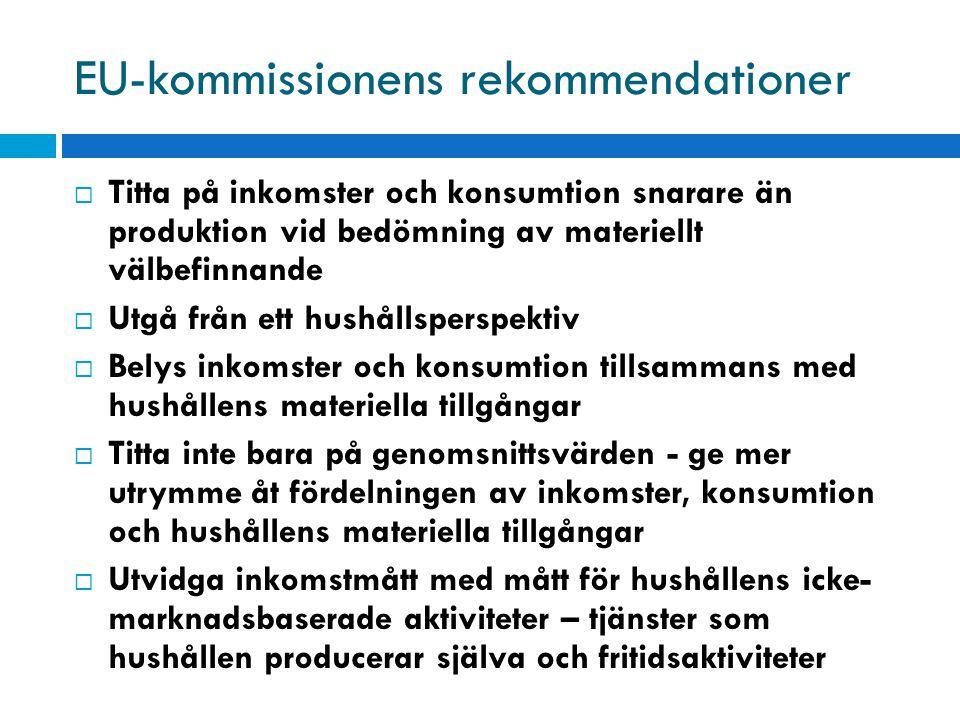 EU-kommissionens rekommendationer  Titta på inkomster och konsumtion snarare än produktion vid bedömning av materiellt välbefinnande  Utgå från ett