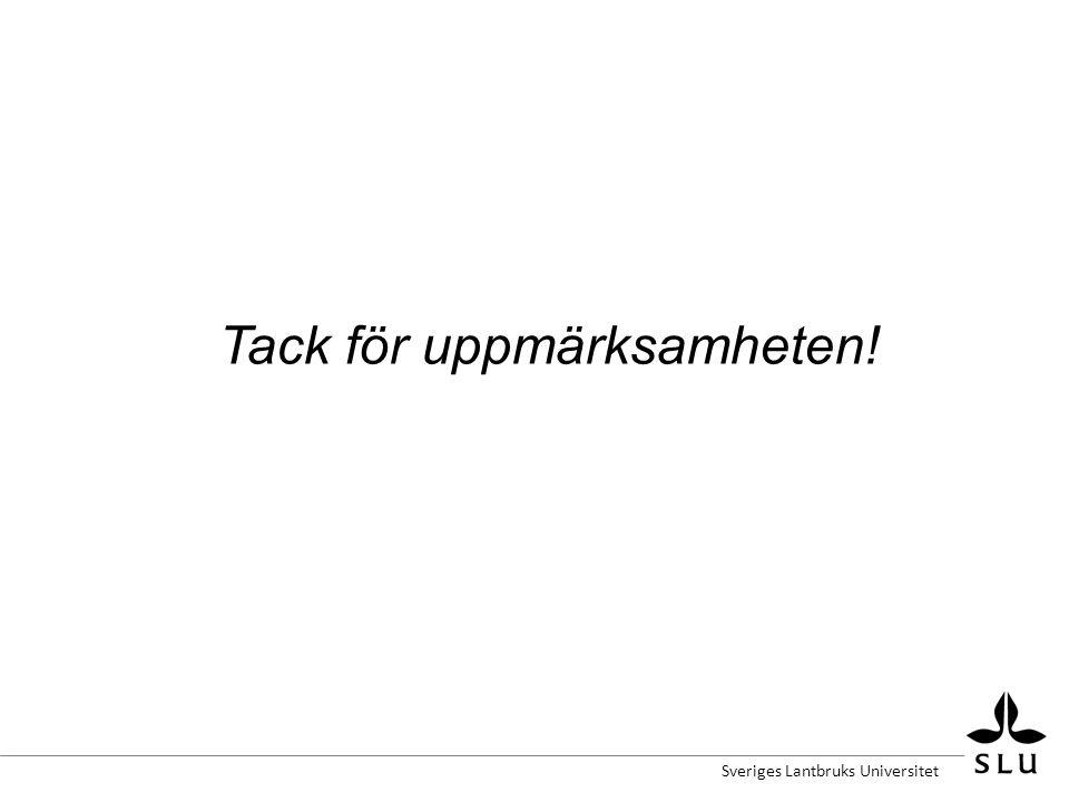 Sveriges Lantbruks Universitet Tack för uppmärksamheten!