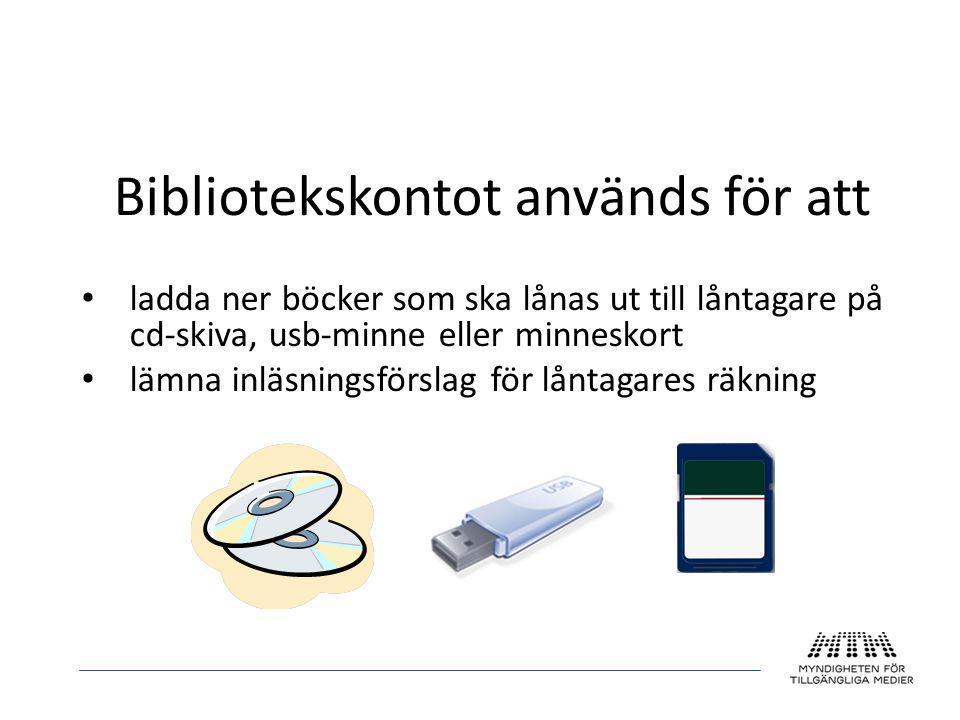Bibliotekskontot används för att • ladda ner böcker som ska lånas ut till låntagare på cd-skiva, usb-minne eller minneskort • lämna inläsningsförslag