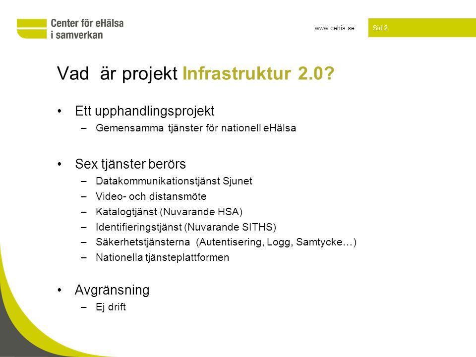 www.cehis.se Sid 2 Vad är projekt Infrastruktur 2.0? •Ett upphandlingsprojekt –Gemensamma tjänster för nationell eHälsa •Sex tjänster berörs –Datakomm