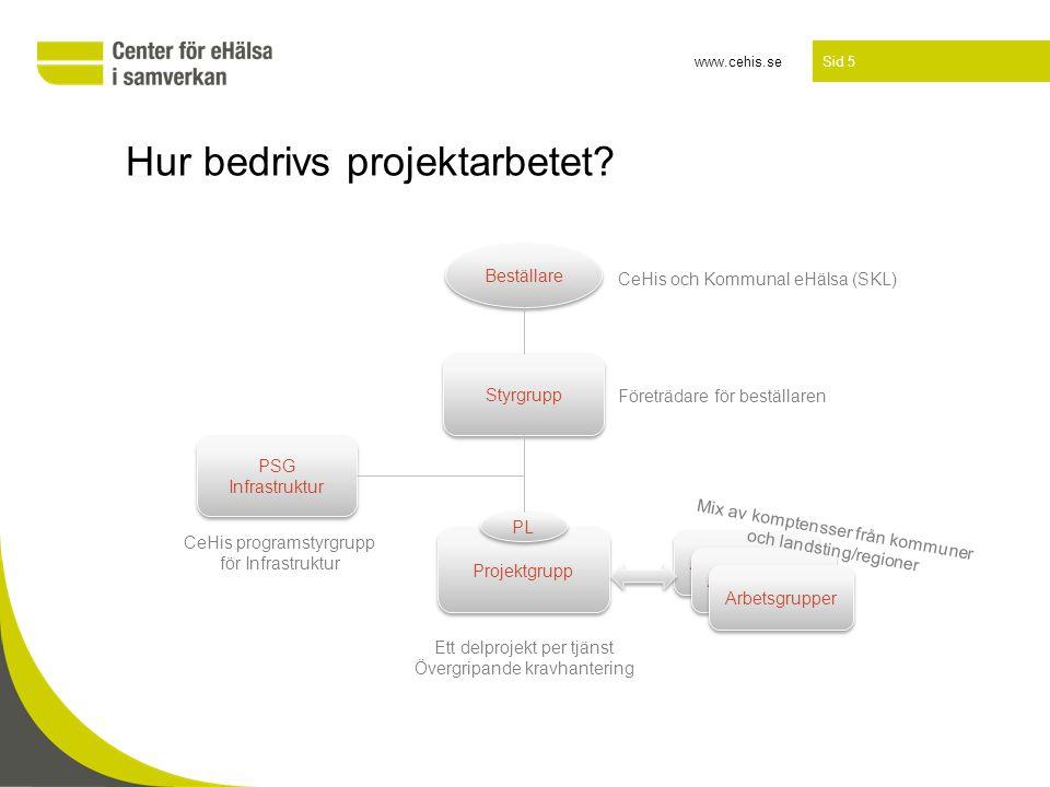 www.cehis.se Sid 5 Hur bedrivs projektarbetet? Beställare Projektgrupp Arbetsgrupper PSG Infrastruktur PSG Infrastruktur Styrgrupp Arbetsgrupper PL Fö