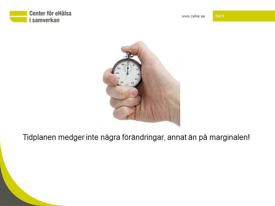 www.cehis.se Sid 9 Tidplanen medger inte några förändringar, annat än på marginalen!