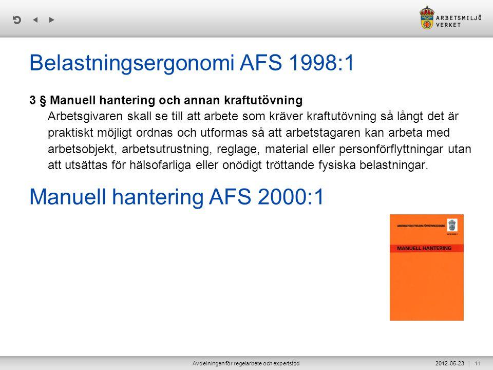 | 2012-05-23Avdelningen för regelarbete och expertstöd11 Belastningsergonomi AFS 1998:1 3 § Manuell hantering och annan kraftutövning Arbetsgivaren sk