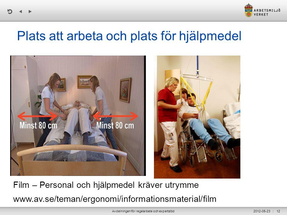 | 2012-05-23Avdelningen för regelarbete och expertstöd12 Plats att arbeta och plats för hjälpmedel Film – Personal och hjälpmedel kräver utrymme www.a