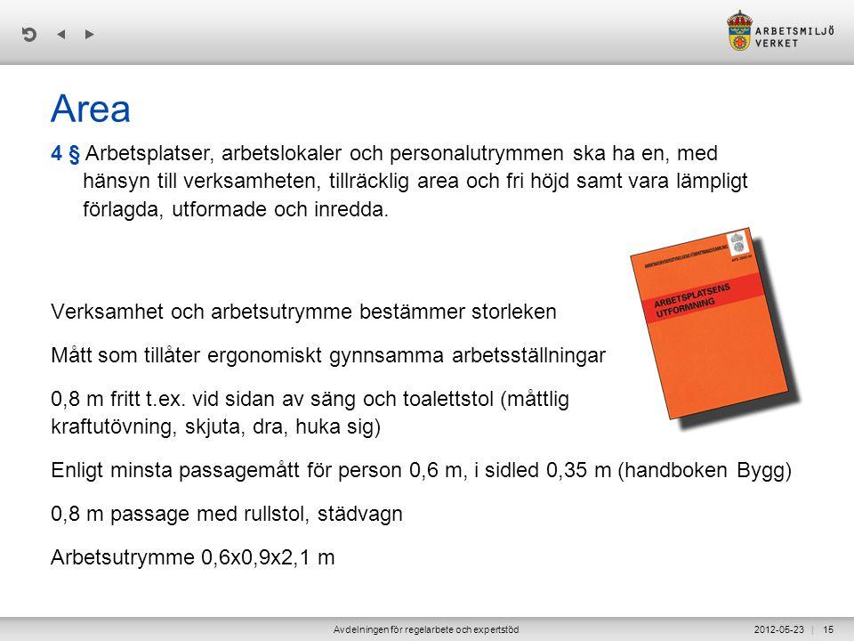 | 2012-05-23Avdelningen för regelarbete och expertstöd15 Area Verksamhet och arbetsutrymme bestämmer storleken Mått som tillåter ergonomiskt gynnsamma