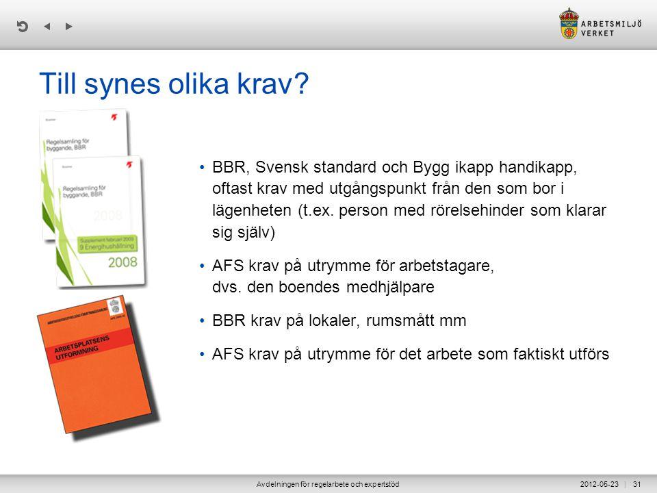 | 2012-05-23Avdelningen för regelarbete och expertstöd31 Till synes olika krav? •BBR, Svensk standard och Bygg ikapp handikapp, oftast krav med utgång