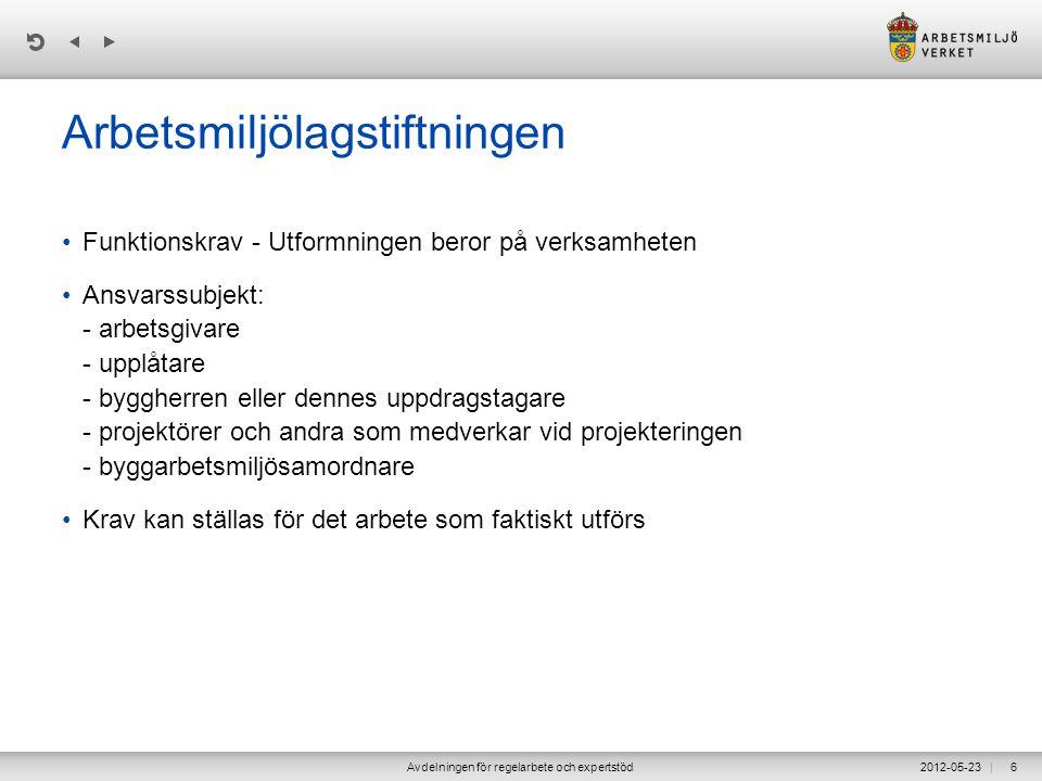 | 2012-05-23Avdelningen för regelarbete och expertstöd6 Arbetsmiljölagstiftningen •Funktionskrav - Utformningen beror på verksamheten •Ansvarssubjekt: