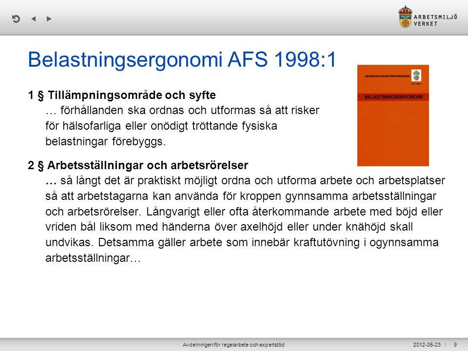 | 2012-05-23Avdelningen för regelarbete och expertstöd9 Belastningsergonomi AFS 1998:1 1 § Tillämpningsområde och syfte … förhållanden ska ordnas och