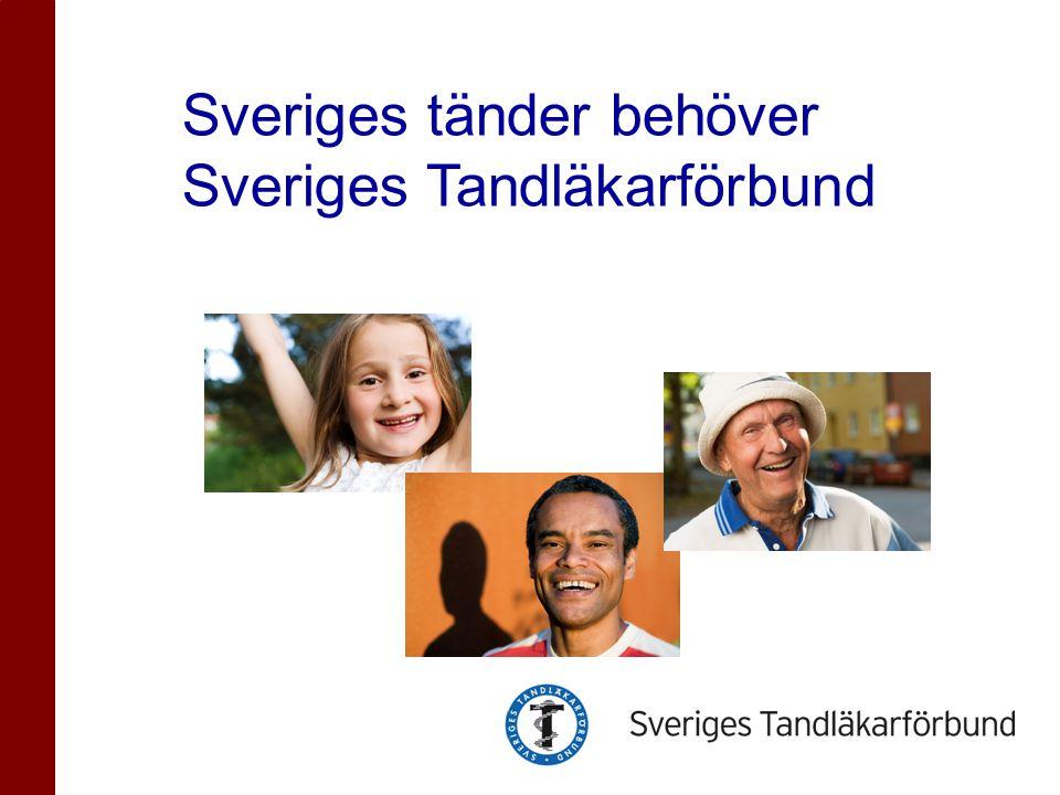 Kort om Sveriges Tandläkarförbund •Yrkesorganisation inom Saco med knappt 8000 tandläkare som medlemmar •Bevakar och påverkar tandläkarnas professionella frågor som bl.a.