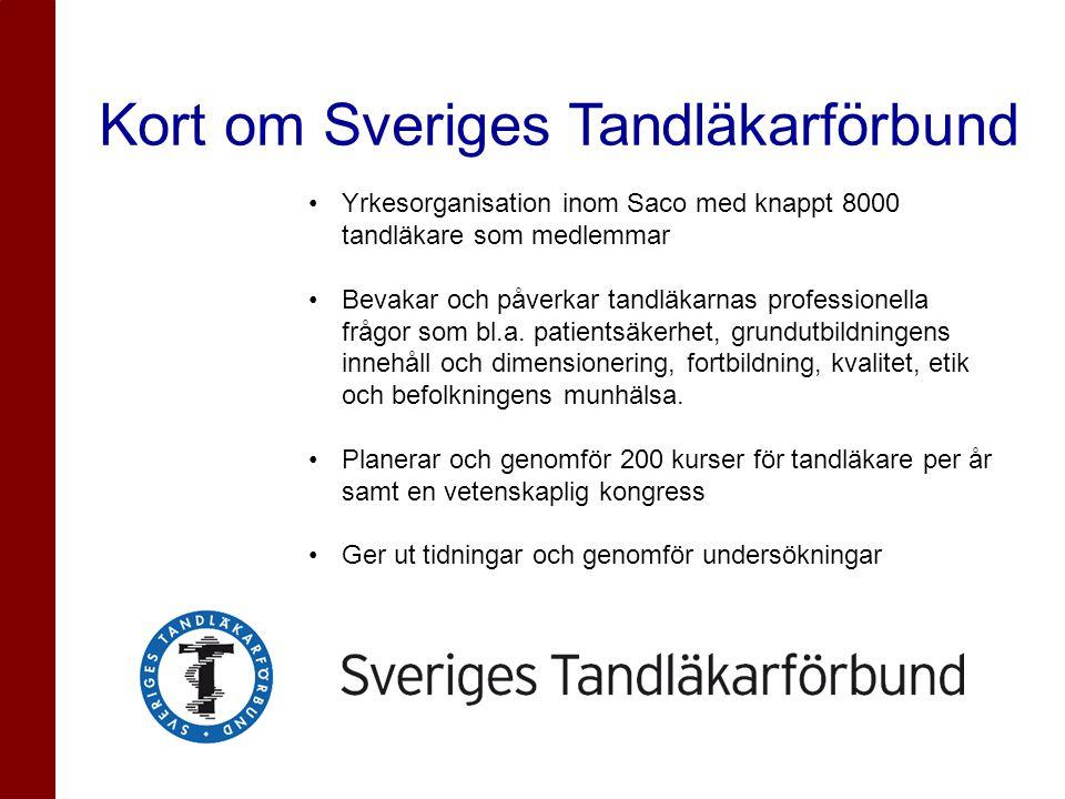 Kort om Sveriges Tandläkarförbund •Yrkesorganisation inom Saco med knappt 8000 tandläkare som medlemmar •Bevakar och påverkar tandläkarnas professione