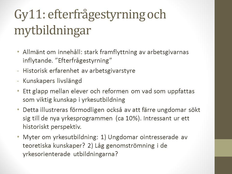 """Gy11: efterfrågestyrning och mytbildningar • Allmänt om innehåll: stark framflyttning av arbetsgivarnas inflytande. """"Efterfrågestyrning"""" -Historisk er"""
