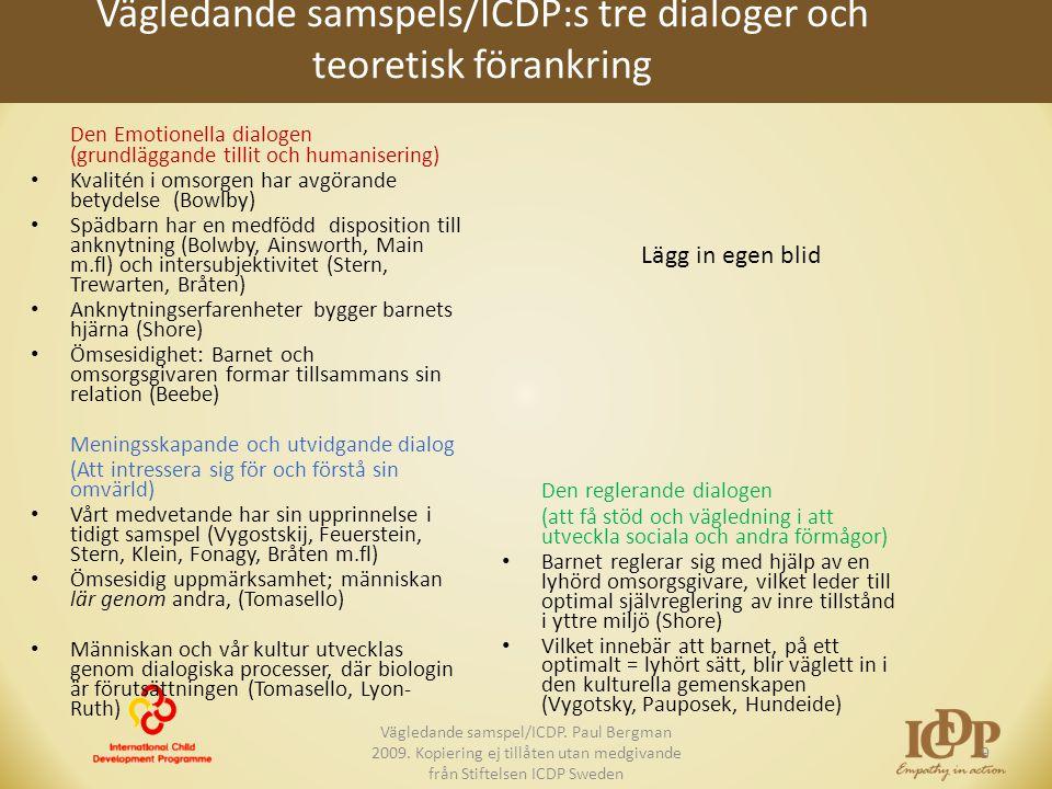 Vägledande samspels/ICDP:s tre dialoger och teoretisk förankring Den Emotionella dialogen (grundläggande tillit och humanisering) • Kvalitén i omsorge