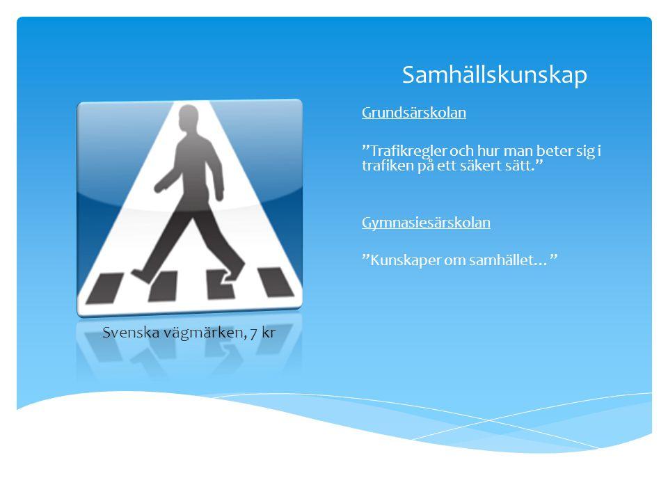 """Samhällskunskap Grundsärskolan """"Trafikregler och hur man beter sig i trafiken på ett säkert sätt."""" Gymnasiesärskolan """"Kunskaper om samhället…"""" Svenska"""