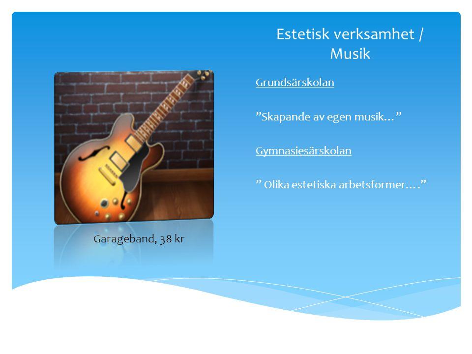 """Estetisk verksamhet / Musik Grundsärskolan """"Skapande av egen musik…"""" Gymnasiesärskolan """" Olika estetiska arbetsformer…."""" Garageband, 38 kr"""