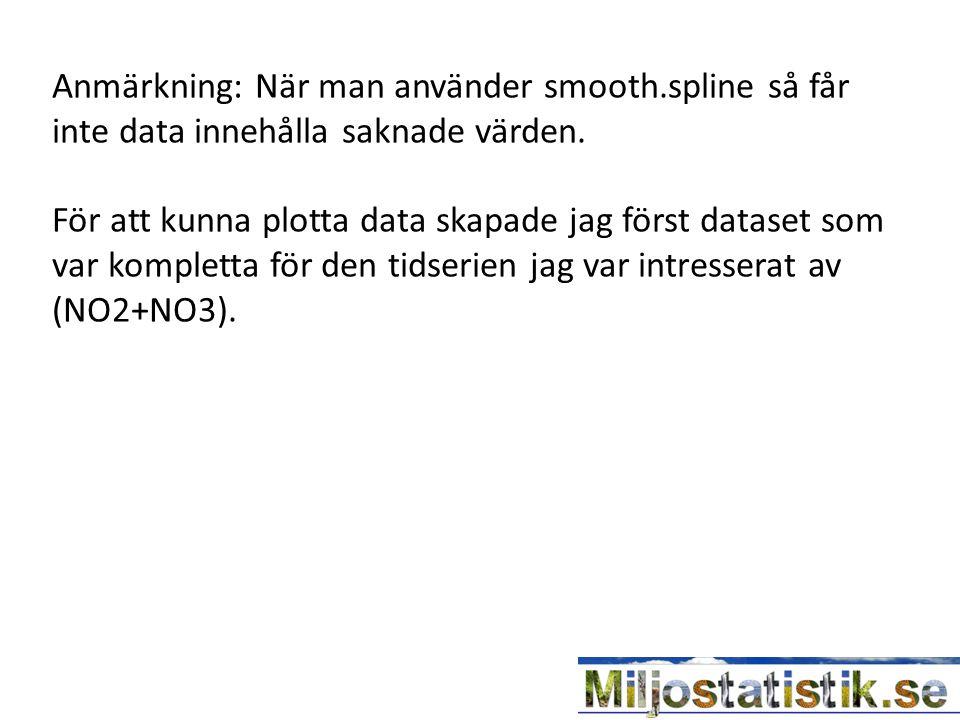 Anmärkning: När man använder smooth.spline så får inte data innehålla saknade värden.
