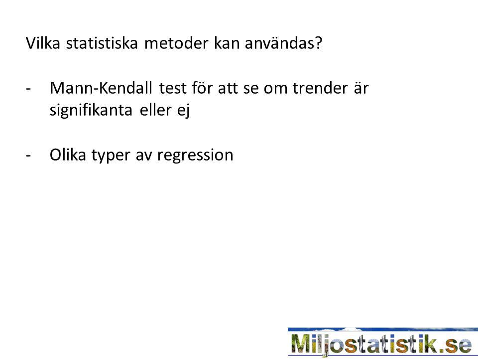 Vilka statistiska metoder kan användas? -Mann-Kendall test för att se om trender är signifikanta eller ej -Olika typer av regression