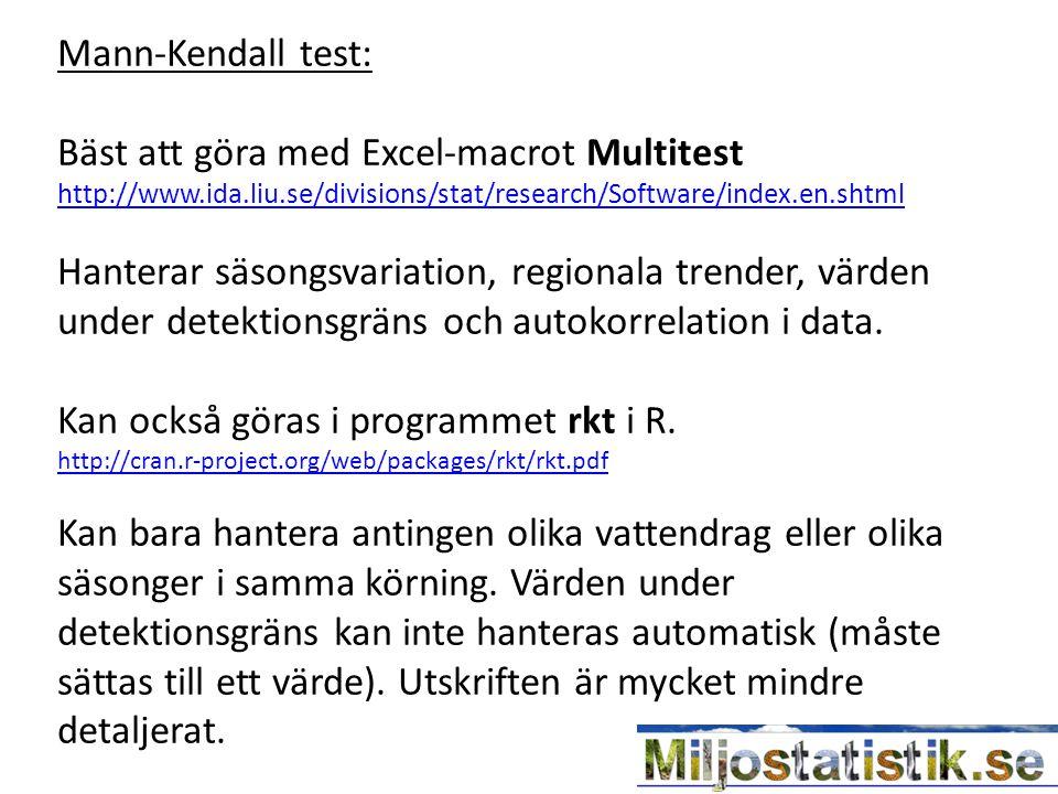 Mann-Kendall test: Bäst att göra med Excel-macrot Multitest http://www.ida.liu.se/divisions/stat/research/Software/index.en.shtml Hanterar säsongsvariation, regionala trender, värden under detektionsgräns och autokorrelation i data.