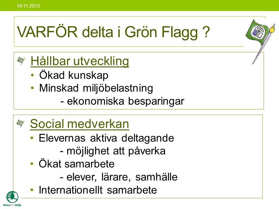 VARFÖR delta i Grön Flagg ? Social medverkan •Elevernas aktiva deltagande - möjlighet att påverka •Ökat samarbete - elever, lärare, samhälle •Internat