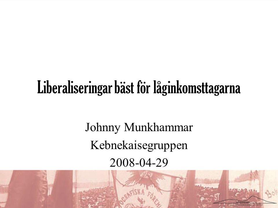 Liberaliseringar bäst för låginkomsttagarna Johnny Munkhammar Kebnekaisegruppen 2008-04-29