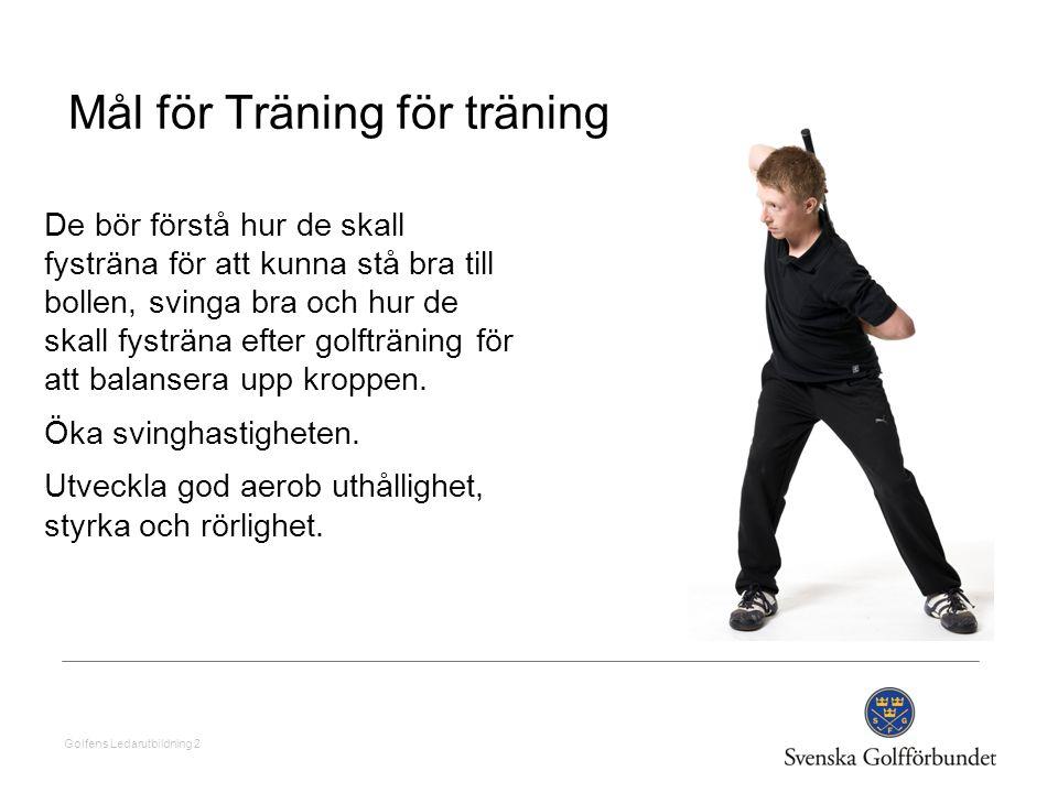 Golfens Ledarutbildning 2 Mål för Träning för träning De bör förstå hur de skall fysträna för att kunna stå bra till bollen, svinga bra och hur de ska