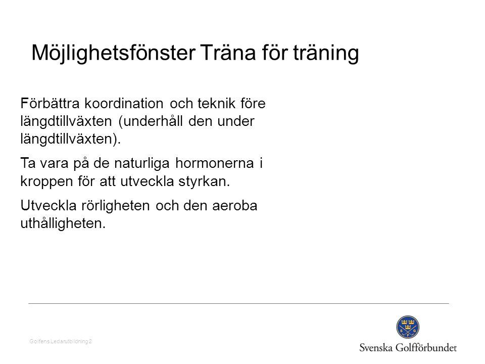 Golfens Ledarutbildning 2 Möjlighetsfönster Träna för träning Förbättra koordination och teknik före längdtillväxten (underhåll den under längdtillväx