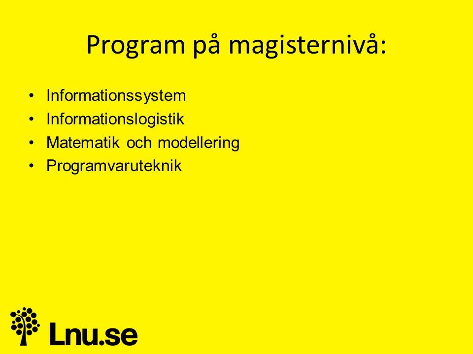 Program på magisternivå: •Informationssystem •Informationslogistik •Matematik och modellering •Programvaruteknik