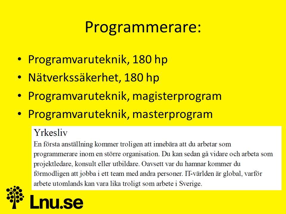 Programmerare: • Programvaruteknik, 180 hp • Nätverkssäkerhet, 180 hp • Programvaruteknik, magisterprogram • Programvaruteknik, masterprogram