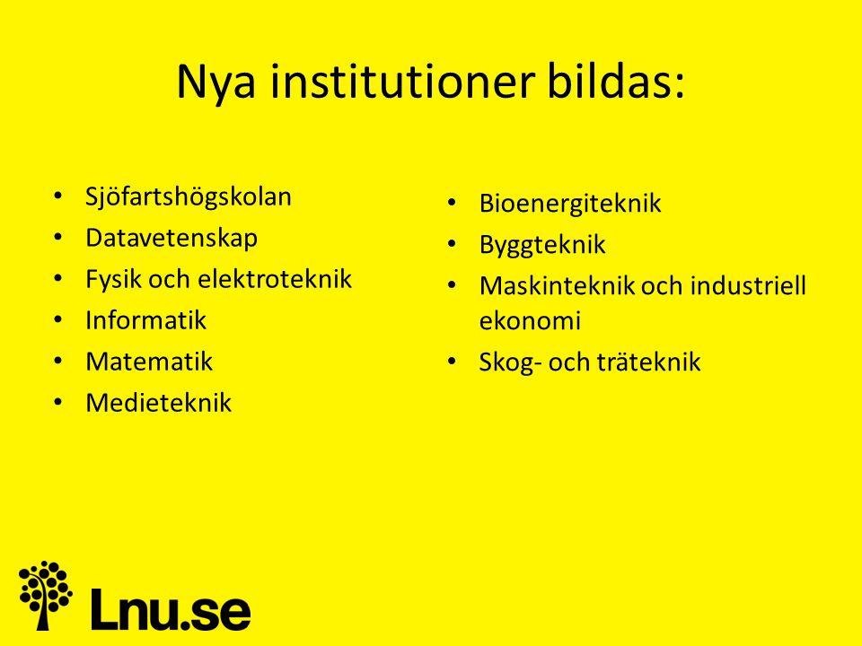 Nya institutioner bildas: • Sjöfartshögskolan • Datavetenskap • Fysik och elektroteknik • Informatik • Matematik • Medieteknik • Bioenergiteknik • Byggteknik • Maskinteknik och industriell ekonomi • Skog- och träteknik