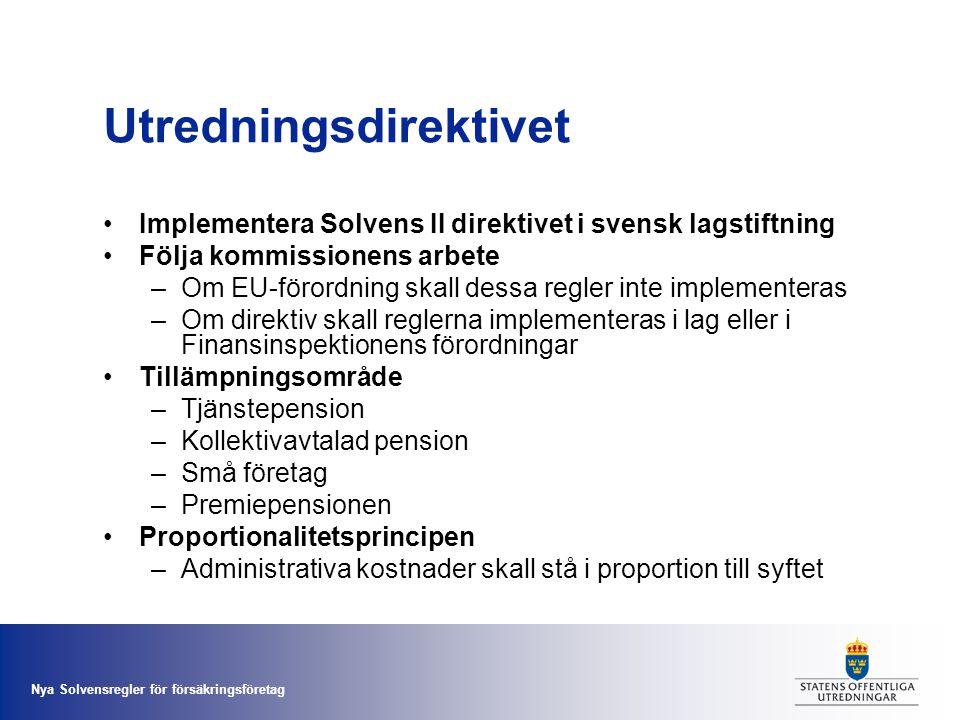 Nya Solvensregler för försäkringsföretag Utredningsdirektivet •Implementera Solvens II direktivet i svensk lagstiftning •Följa kommissionens arbete –O