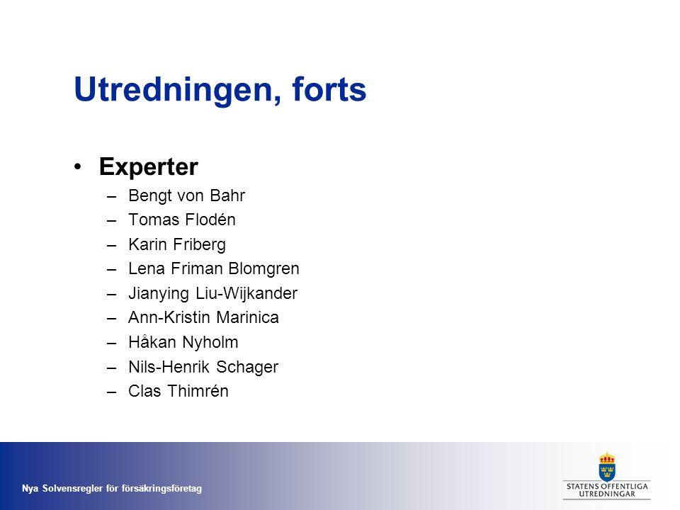 Nya Solvensregler för försäkringsföretag Utredningen, forts •Experter –Bengt von Bahr –Tomas Flodén –Karin Friberg –Lena Friman Blomgren –Jianying Liu
