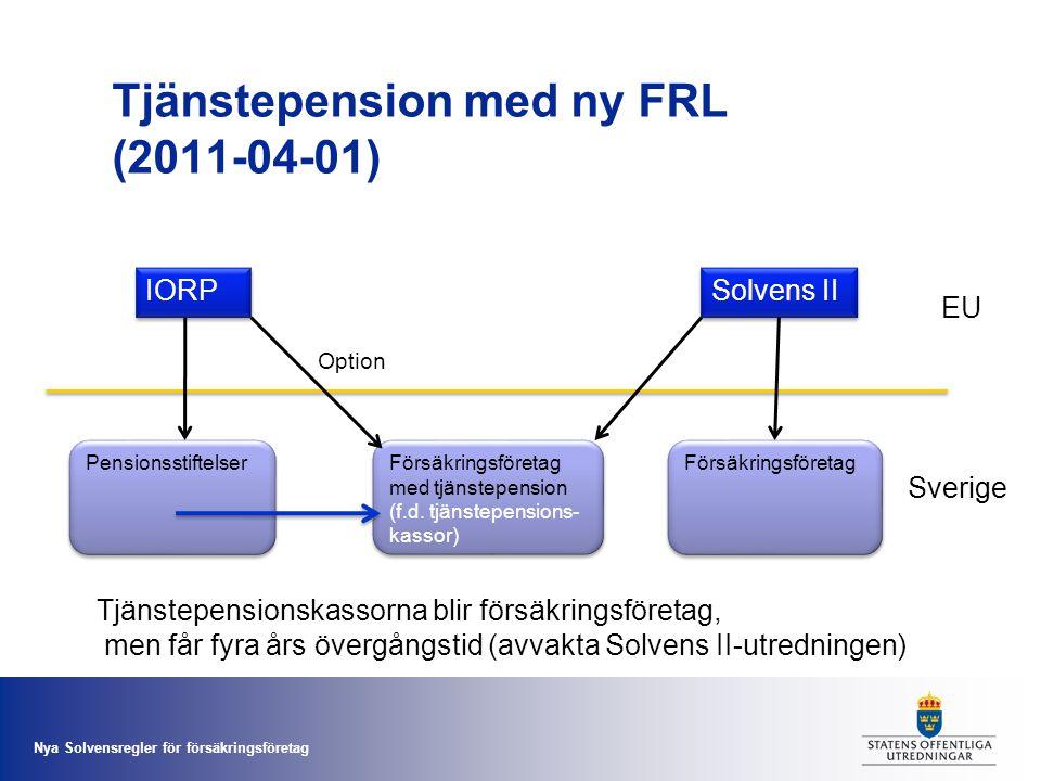 Nya Solvensregler för försäkringsföretag Tjänstepension med ny FRL (2011-04-01) IORP Solvens II Försäkringsföretag Försäkringsföretag med tjänstepensi