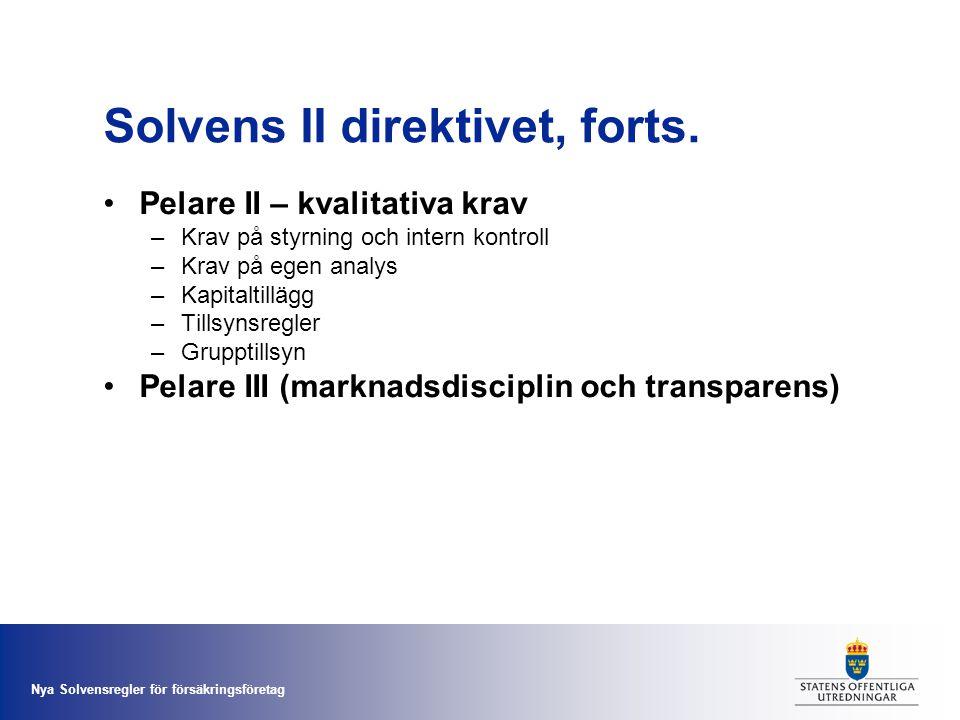 Nya Solvensregler för försäkringsföretag Solvens II direktivet, forts. •Pelare II – kvalitativa krav –Krav på styrning och intern kontroll –Krav på eg