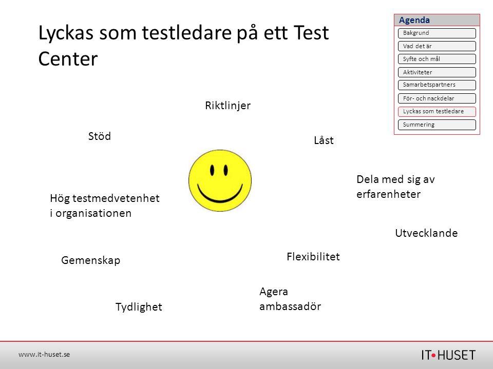 www.it-huset.se Lyckas som testledare på ett Test Center Stöd Dela med sig av erfarenheter Hög testmedvetenhet i organisationen Gemenskap Tydlighet Ri