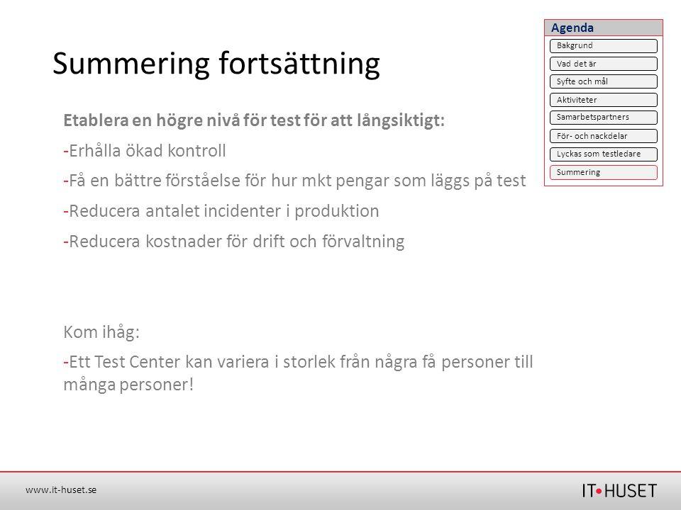 www.it-huset.se Summering fortsättning Etablera en högre nivå för test för att långsiktigt: -Erhålla ökad kontroll -Få en bättre förståelse för hur mk