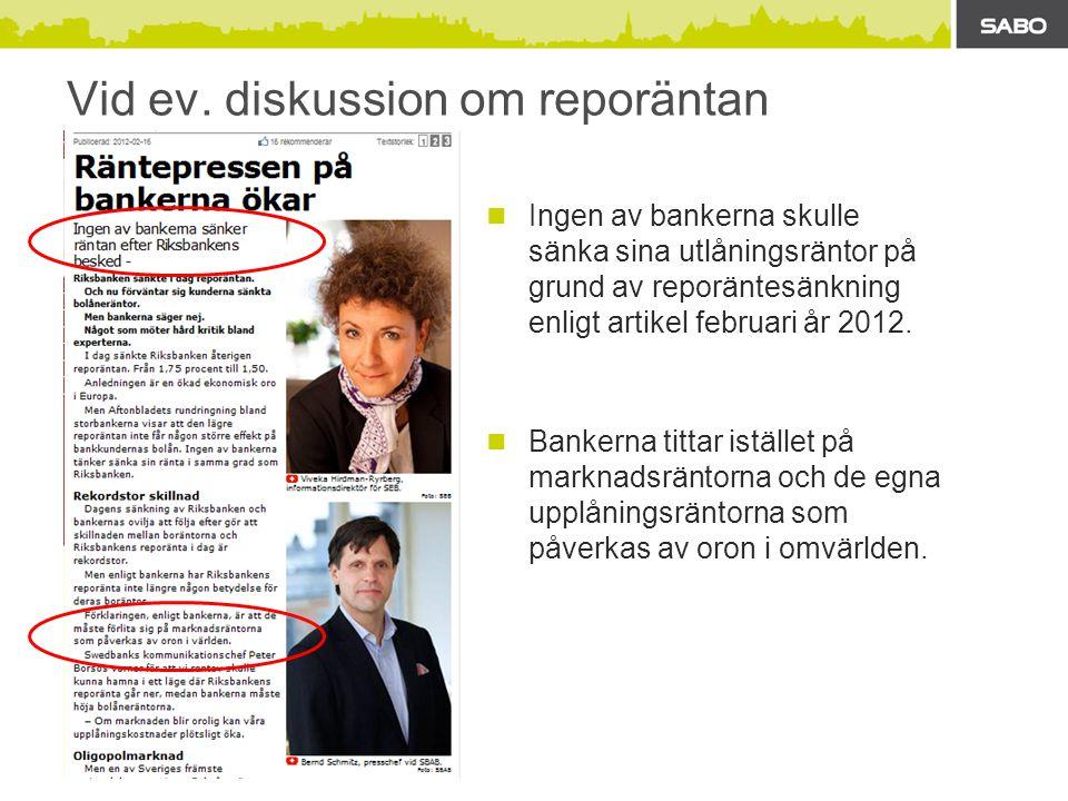 Vid ev. diskussion om reporäntan  Ingen av bankerna skulle sänka sina utlåningsräntor på grund av reporäntesänkning enligt artikel februari år 2012.