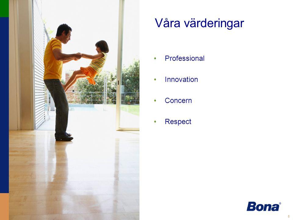 5 Våra värderingar •Professional •Innovation •Concern •Respect