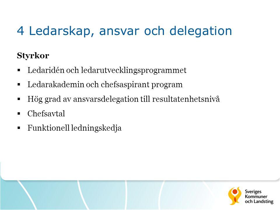 4 Ledarskap, ansvar och delegation Styrkor  Ledaridén och ledarutvecklingsprogrammet  Ledarakademin och chefsaspirant program  Hög grad av ansvarsd