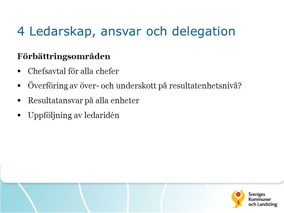 4 Ledarskap, ansvar och delegation Förbättringsområden  Chefsavtal för alla chefer  Överföring av över- och underskott på resultatenhetsnivå?  Resu