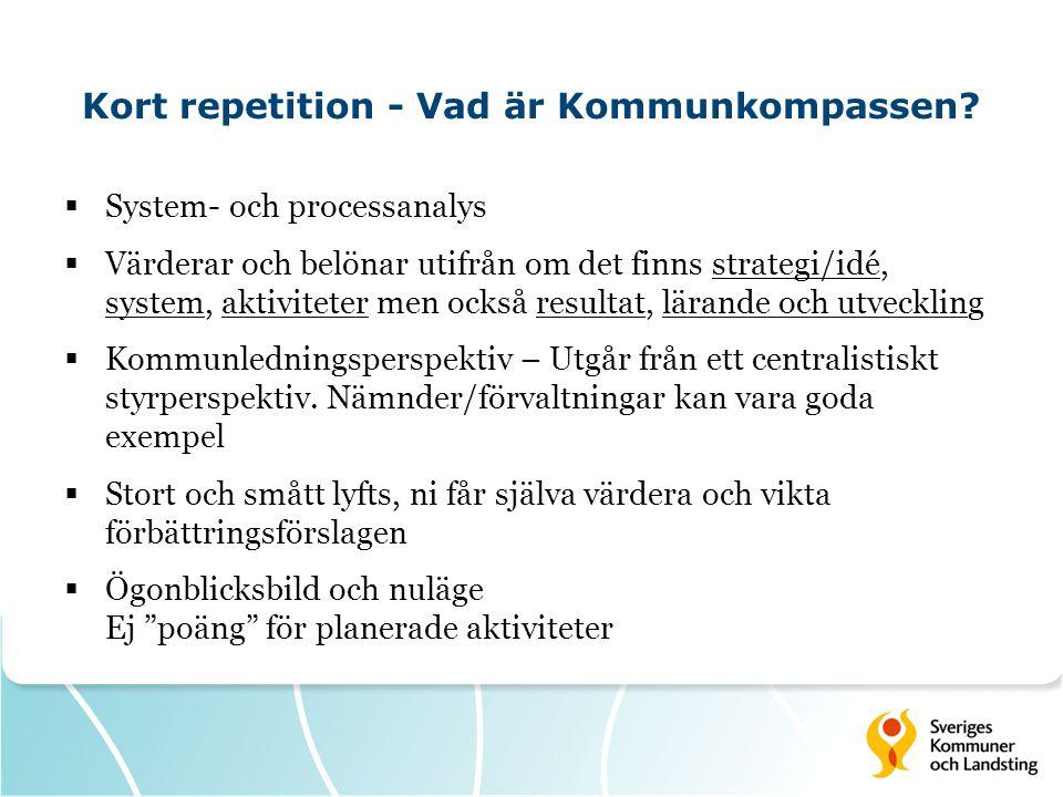 Kort repetition - Vad är Kommunkompassen?  System- och processanalys  Värderar och belönar utifrån om det finns strategi/idé, system, aktiviteter me