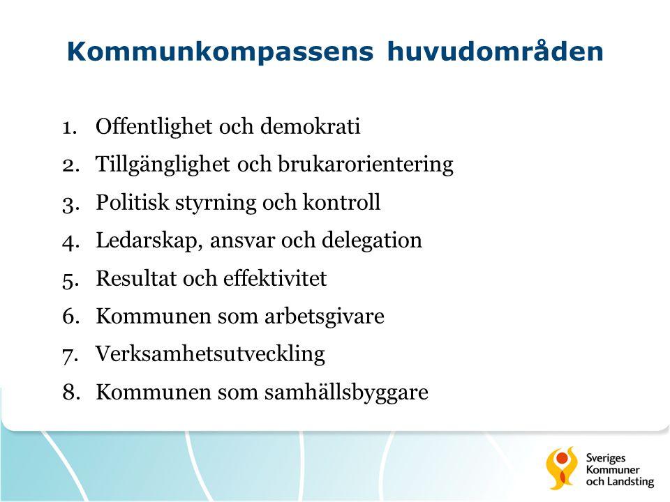 Kommunkompassens huvudområden 1.Offentlighet och demokrati 2.Tillgänglighet och brukarorientering 3.Politisk styrning och kontroll 4.Ledarskap, ansvar