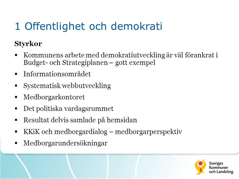 1 Offentlighet och demokrati Styrkor  Kommunens arbete med demokratiutveckling är väl förankrat i Budget- och Strategiplanen – gott exempel  Informa