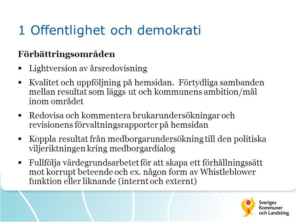 1 Offentlighet och demokrati Förbättringsområden  Lightversion av årsredovisning  Kvalitet och uppföljning på hemsidan. Förtydliga sambanden mellan