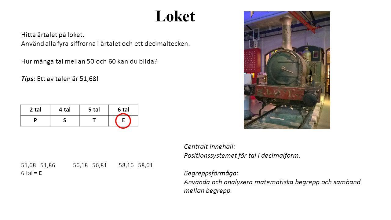 Loket Hitta årtalet på loket. Använd alla fyra siffrorna i årtalet och ett decimaltecken.