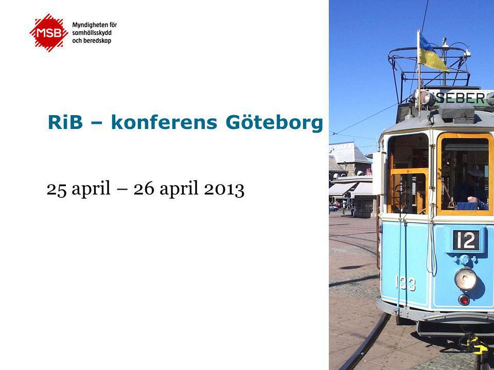 RiB – konferens Göteborg 25 april – 26 april 2013