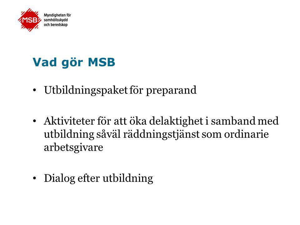 Vad gör MSB • Utbildningspaket för preparand • Aktiviteter för att öka delaktighet i samband med utbildning såväl räddningstjänst som ordinarie arbets