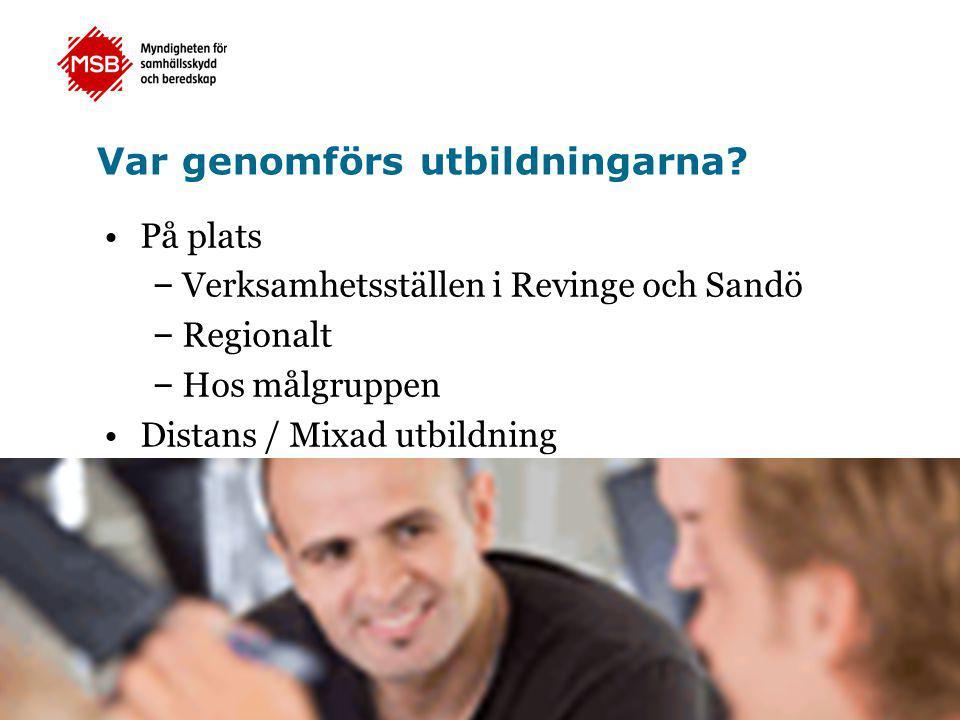 Var genomförs utbildningarna? •På plats – Verksamhetsställen i Revinge och Sandö – Regionalt – Hos målgruppen •Distans / Mixad utbildning