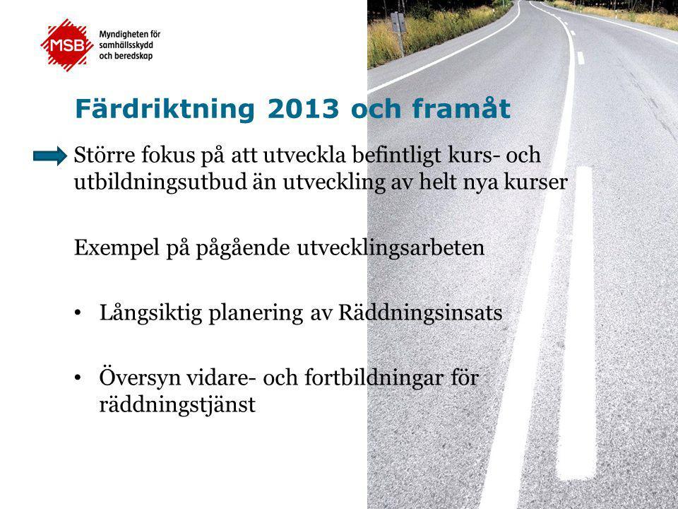 Färdriktning 2013 och framåt Större fokus på att utveckla befintligt kurs- och utbildningsutbud än utveckling av helt nya kurser Exempel på pågående u