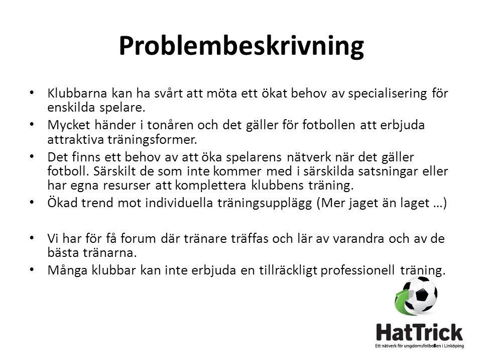 Problembeskrivning • Klubbarna kan ha svårt att möta ett ökat behov av specialisering för enskilda spelare.