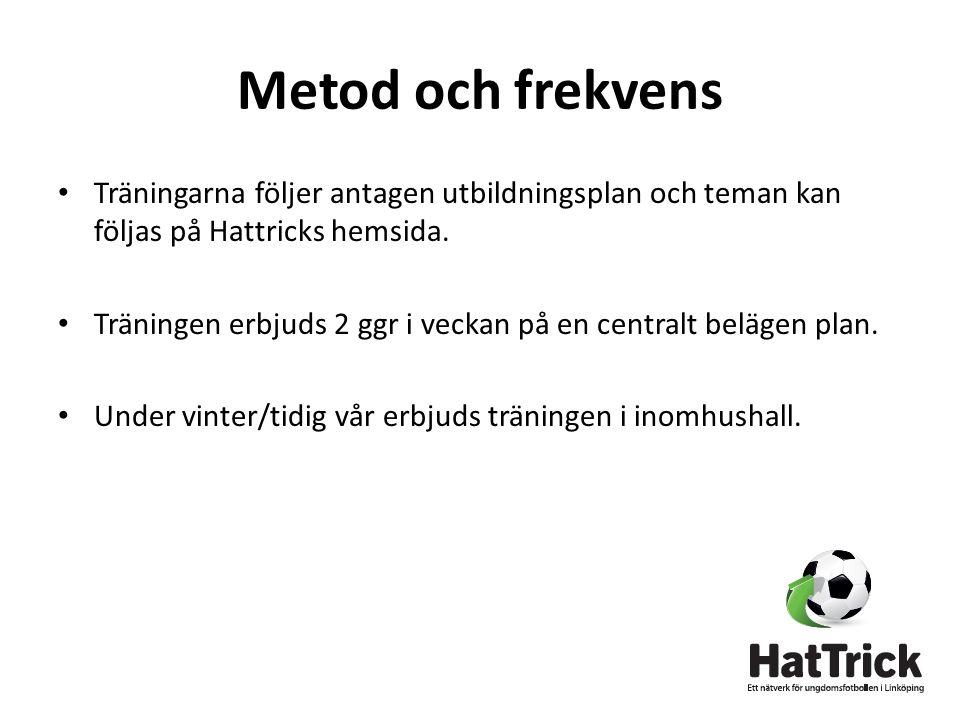 Metod och frekvens • Träningarna följer antagen utbildningsplan och teman kan följas på Hattricks hemsida.